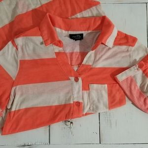 Rue 21 Striped Cropped Blouse